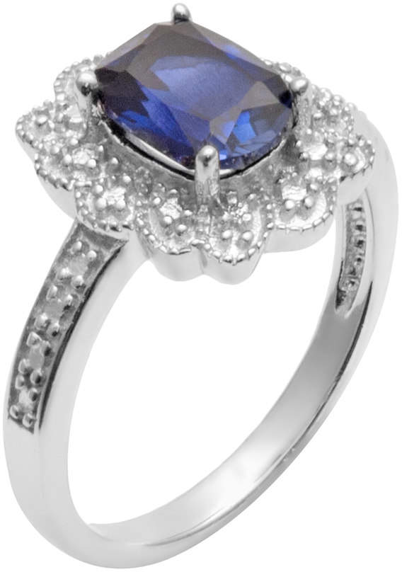 Kohl's Sterling Silver Lab-Created Sapphire and Diamond Accent Scalloped Halo Ring