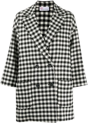 RED Valentino Check-Pattern Double-Breasted Coat