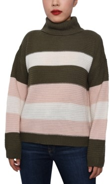 Derek Heart Juniors' Striped Cowl-Neck Sweater