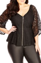City Chic Plus Size Women's Lace Bell Sleeve Top