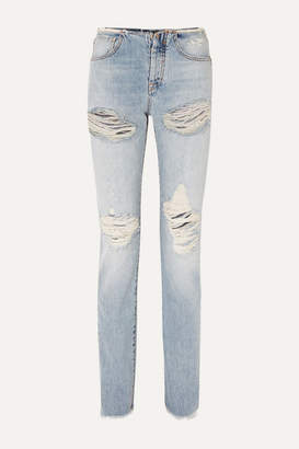 Unravel Project Vinta Spray Distressed Low-rise Skinny Jeans - Blue