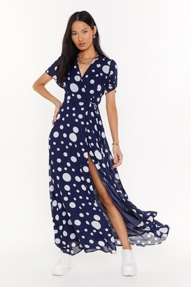 Nasty Gal Womens Dots of Love Polka Dot Wrap Maxi Dress - navy - 4