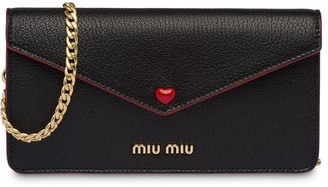 Miu Miu Heart Embellished Wallet On Chain