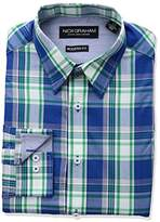 Nick Graham Men's Modern Fit Plaid Point Collar Dress Shirt