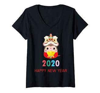 Womens Chinese New Year Of The Rat 2020 Happy Zodiac Lucky Fun Gift V-Neck T-Shirt