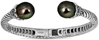 BELPEARL Silver 12Mm Tahitian Bangle Bracelet
