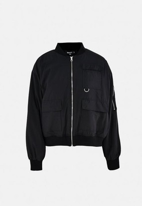 Missguided Black Oversized Pocket Bomber Jacket