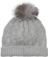 Sofia Cashmere Women's 100% Cable Seed Stitch Hat with Fox Fur Pom