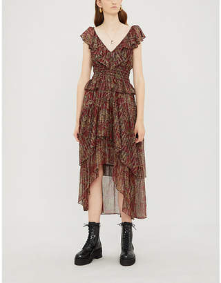 The Kooples Ruffle-trimmed paisley silk-blend crepe dress