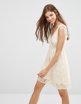 Lavand Lace Skater Dress In White