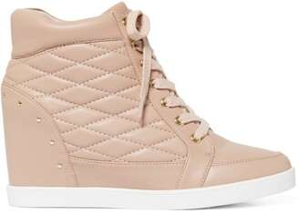 Forever New Kyra Quilted Wedge Sneakers - Blush - 37