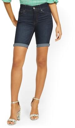 New York & Co. Mya Curvy High-Waisted Sculpting No Gap 9-Inch Shorts - Blue Myth