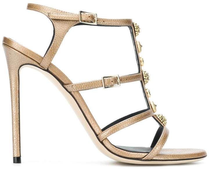 Grey Mer metallic embellished strappy sandals
