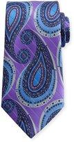 Ermenegildo Zegna Metallic Paisley Silk Tie, Purple