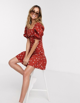 Influence puff sleeve tiered square neck mini dress with tiered hem in rust polka dot