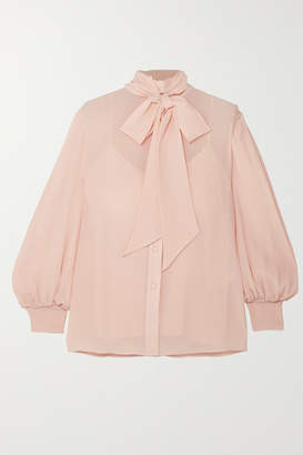 Givenchy Pussy-bow Silk-crepon Blouse - Beige
