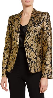 Michael Kors Jacquard One-Button Silk-Blend Blazer