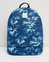 Jack Wills Blue & White Floral Cotton Backpack