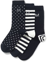 Crew Clothing 3 Pack Spot/Stripe Bamboo Socks