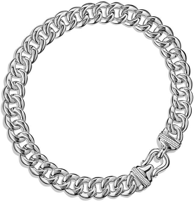 "David Yurman Buckle Chain Necklace with Diamonds, 18.25"""