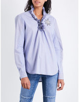 Sandro Frilled-collar cotton top