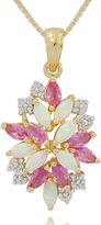 FINE JEWELRY Lab Created Lab-Created Opal, Pink and White Sapphire Cluster Pendant Necklace