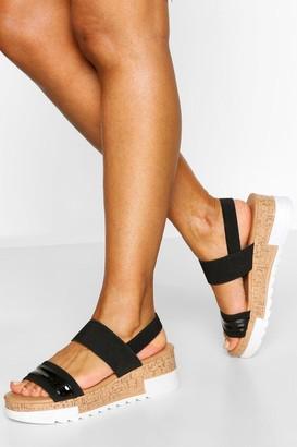 boohoo Elastic Strap Flatform Sandal