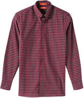 Joe Fresh Men's Plaid Button Down Shirt, Dark Burgundy (Size L)