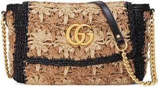 Gucci GG Marmont raffia small shoulder bag