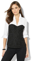 New York & Co. 7th Avenue - Lace Corset Stretch Shirt