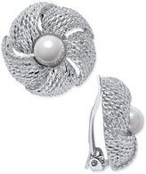 Charter Club Erwin Pearl Atelier for Gold-Tone Imitation Pearl Flower Clip-On Earrings, Only at Macy's