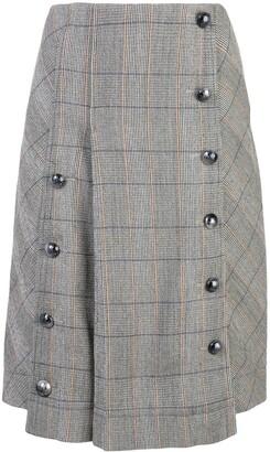 Chloé Button-Front Check Skirt