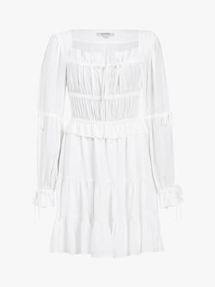 AllSaints Kimi Silk Blend Ruched Mini Dress, Chalk White