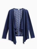 Splendid Girl Indigo Wrap Sweater with Lace Back