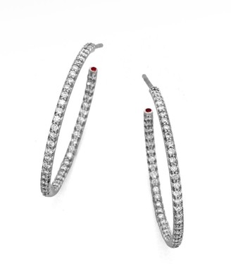 Roberto Coin Perfect Diamond & 18K White Gold Large Hoop Earrings/1.2""