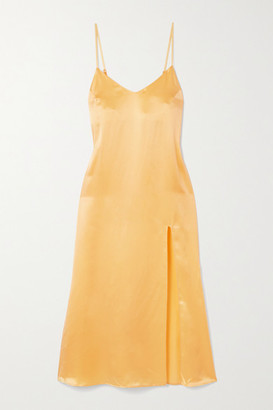 Reformation Britten Silk-satin Midi Dress - Yellow