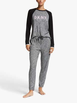 DKNY Name Drop Top And Jogger Pyjama Set, Black Marled