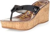 Sam Edelman Romy Patent Leather Wedge Sandal, Black