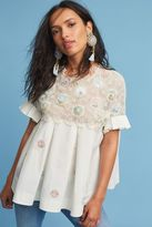 Anthropologie Carousel Embellished Blouse, White