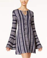 Teeze Me Juniors' Printed Bell-Sleeve Shift Dress