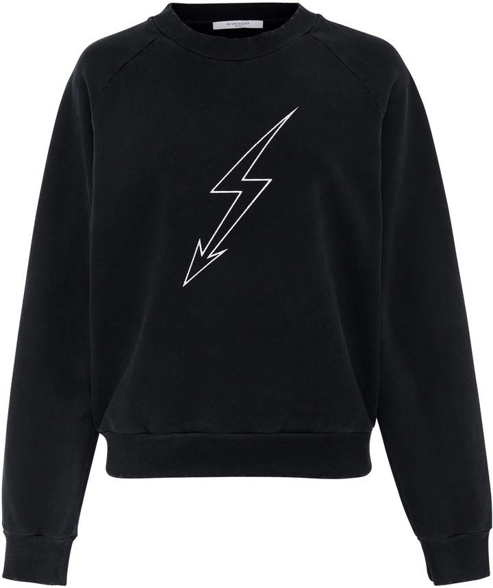 Givenchy Lightening Bolt Cotton-Jersey Sweatshirt