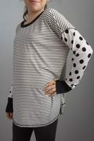 Sweet Claire Stripes Polka-Dot Top