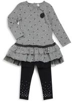 Petit Lem Little Girl's Cotton-Blend Roundneck Dress