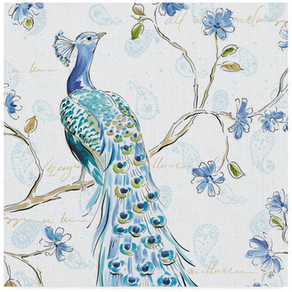 "Trademark Fine Art Daphne Brissonnet 'Peacock Allegory III White' Canvas Art, 35""x35"""
