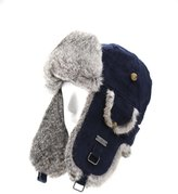 FUR WINTER Cotton Corduroy Rabbit Fur Aviator Bomber Trapper Trooper Pilot Ski Hat DBL M/L