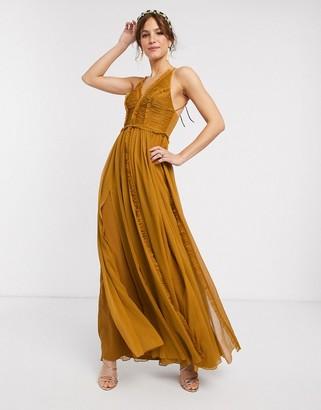Asos Design DESIGN ruched bodice soft cami maxi dress with raw edge detail-Orange