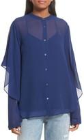 Robert Rodriguez Women's Drape Detail Silk Shirt