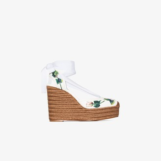 Dolce & Gabbana White 90 Floral Leather Espadrille Wedge Sandals