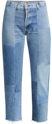 RE/DONE 70s High-Rise Patched Straight Jeans