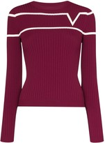 Valentino striped logo-print ribbed-knit jumper
